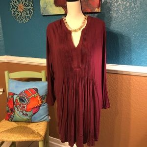 Wine color pleated front dress